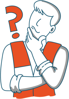 Figure in high-vis jacket with question mark