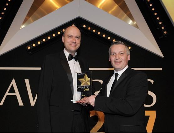 Head of Audi UK Fleet James Douglas (left) collects Audi's second award from Elliot Scott, fleet director of Thrifty Car & Van Rental