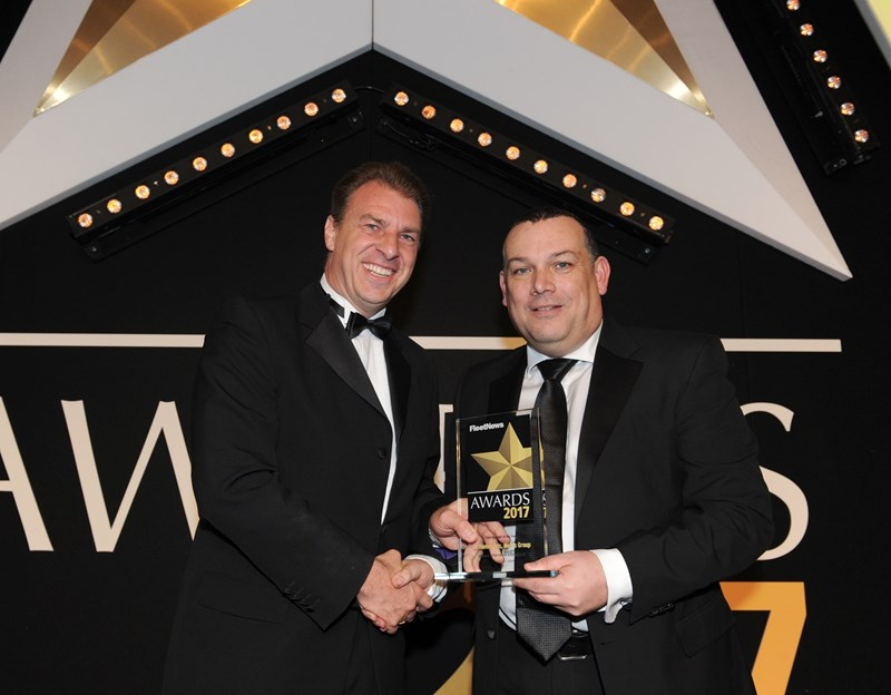 Jo Hammonds, group fleet manager for Mears Group (left), collects the award from Fiat Chrysler Automotive fleet and remarketing director Francis Beasdale