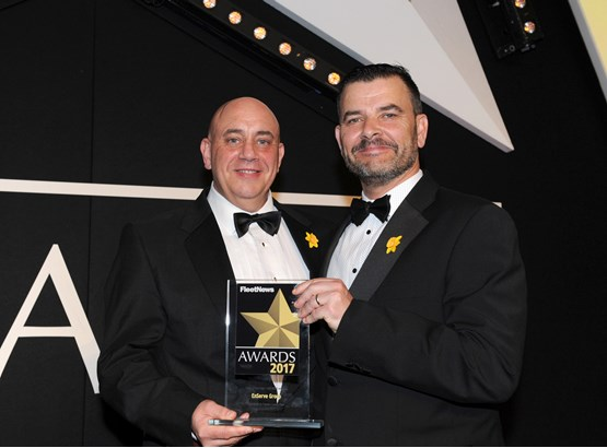Paul Brown, head of group fleet, Enserve Group (left), picks up the award from Neil Broad, general manager, Toyota & Lexus Fleet
