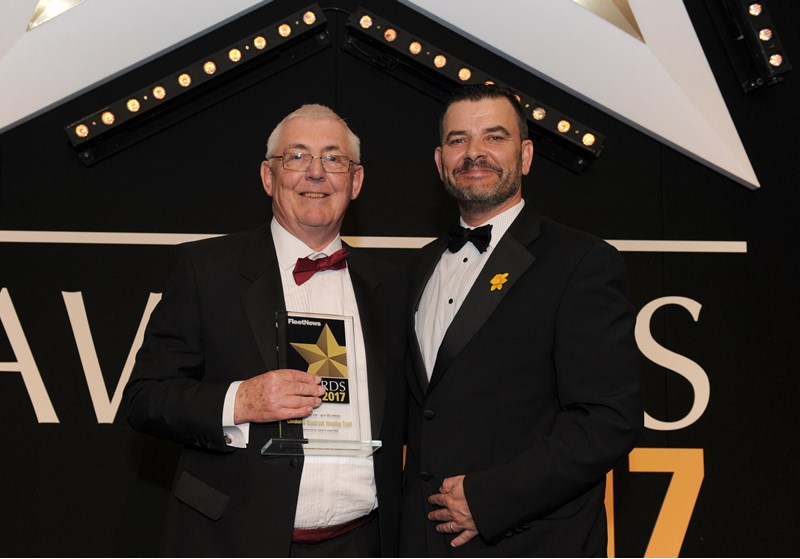 L&Q fleet manager Maurice Elford (left) collects the award from Neil Broad, general manager, Toyota & Lexus Fleet