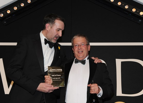 Colin Marriott (right) is welcomed into the hall of fame by Stuart Thomas, head of fleet services and SME at The AA