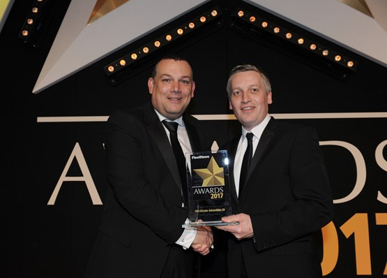 KeeResources chief executive officer Denis Keenan (left) presents the Fleet Manufacturer of the Year award to head of Audi UK Fleet James Douglas