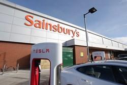 Tesla supercharger at Sainsbury's