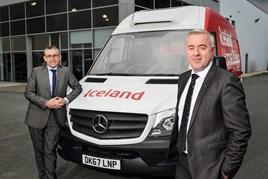 Iceland's Alex McKinlay, left, and Steve Bridge, of Mercedes-Benz Vans, with Iceland's 1,000th Sprinter