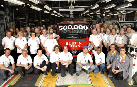 The 500,000th Vauxhall Vivaro leaves the production line at Luton