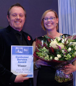 Louise Ricketts, senior customer services executive at Lloyds TSB Autolease receives the FN50 Customer Service Award from Fleet News' editor Martyn Moore