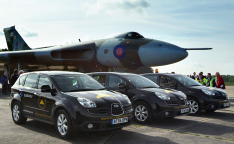 Vulcan bomber with the Subaru Tribeca support team