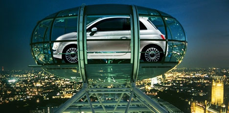 Fiat launched the new 500 in the UK with a flight in e London Eye