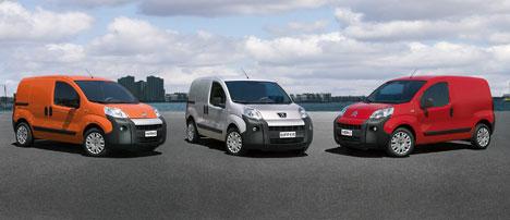From left, the Fiat Fiorino, Peugeot Bipper and Citroen Nemo